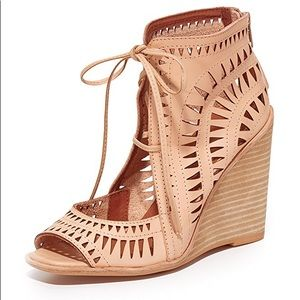 Jeffery Campbell nude leather wedges